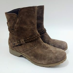 TEVA Delavina Brown Leather Suede Ankle Boots 10